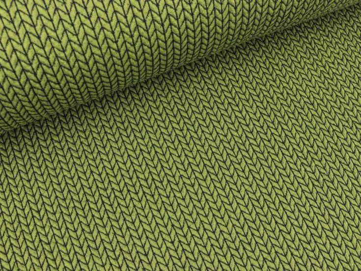 Bio-Stoffe - Hamburger Liebe Pattern Love Big Knit olivia-blue  - ein Designerstück von Das-huepfende-Komma bei DaWanda