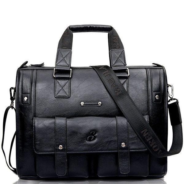Men Business Vintage Laptop Bag Briefcase Big Capacity Horizontal Handbag Trave - US$80.00