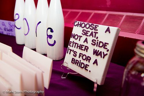 """Choose a seat, not a side, either way... it's for a bride!"" #lgbtwedding #weddingplanner #weddingsbybailey  #LGBTWEDDING #lgbtweddingdj #mbeventdjs Michael Eric Berrios #michaelericberrios"