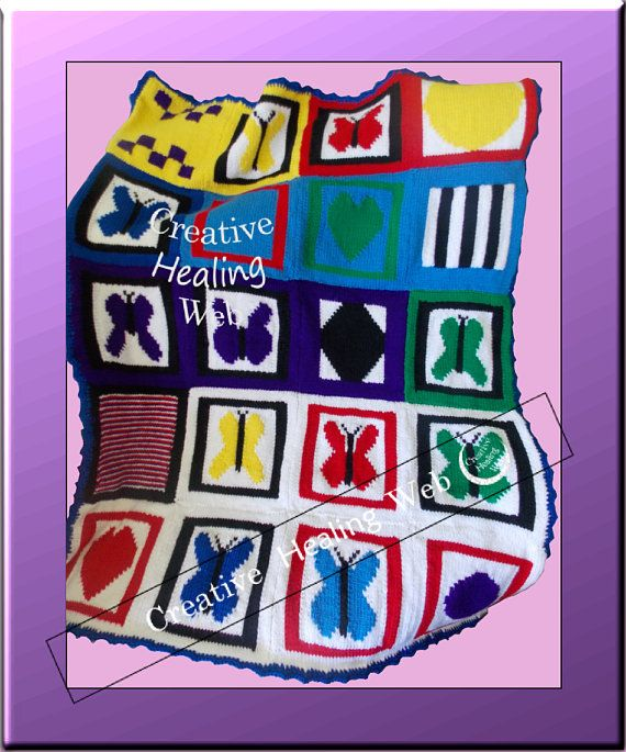 Blanket knitted from Creative Healing Web graph patterns. Graph patterns available singly or as a set in PDF booklet form. Knitting instructions included.