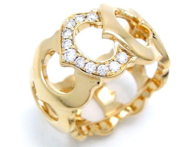 AUTH CARTIER 750 YELLOW GOLD C DE CARTIER DIAMOND RING #4 (US SIZE) (DH34071)  #Cartier #Band