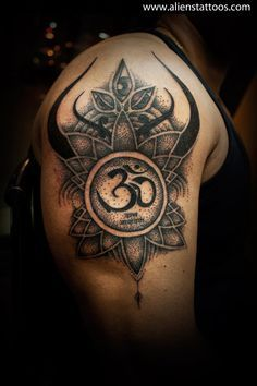 """Dotwork Abstract Design with Om, Concept, Design and Inked by Sunny at Aliens Tattoo, Mumbai, Client wanted to write """"Om Datta Narayan"""" with some abstract design. Worked on his concept based on his design brief. As we talked about adding some Lord Shiva's elements in the tattoo, This design consist of abstract Lord Shiva's Trishul with his middle eye open. This is my first attempt of dotwork tattoo. Hope you all liked the tattoo."""