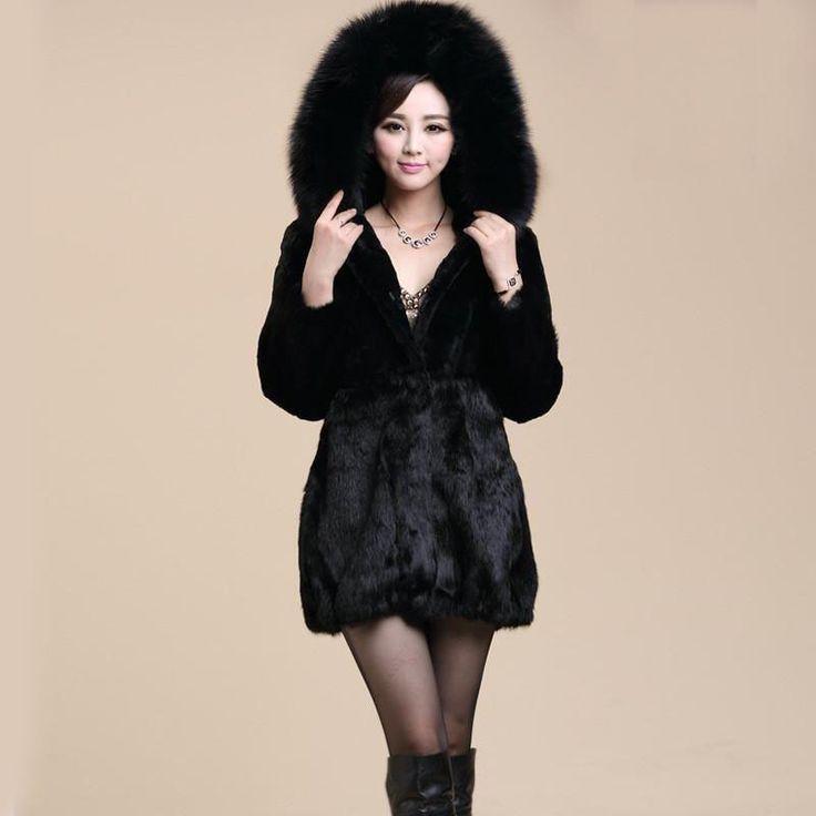 2015 New arrival winter women faux fox fur collar coat Black luxurious rabbit  fur long overcoat Slim warm fashion hooded jacket
