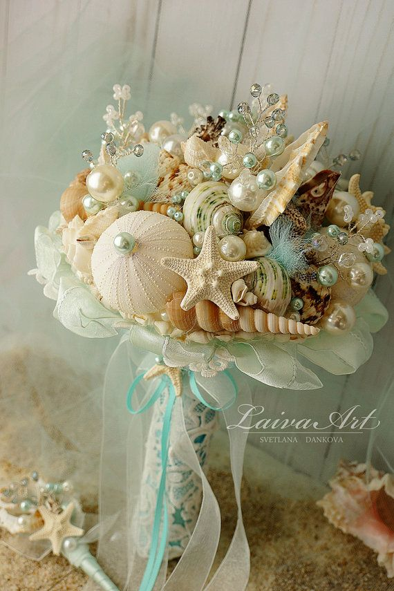 Beach Shell Bouquet Starfish Bouquet Beach Wedding by LaivaArt