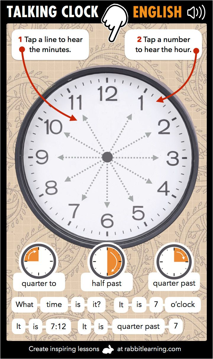 Learn English Time with our talking clock. This is a really simple way of learning the time in English. Tap, listen an learn.