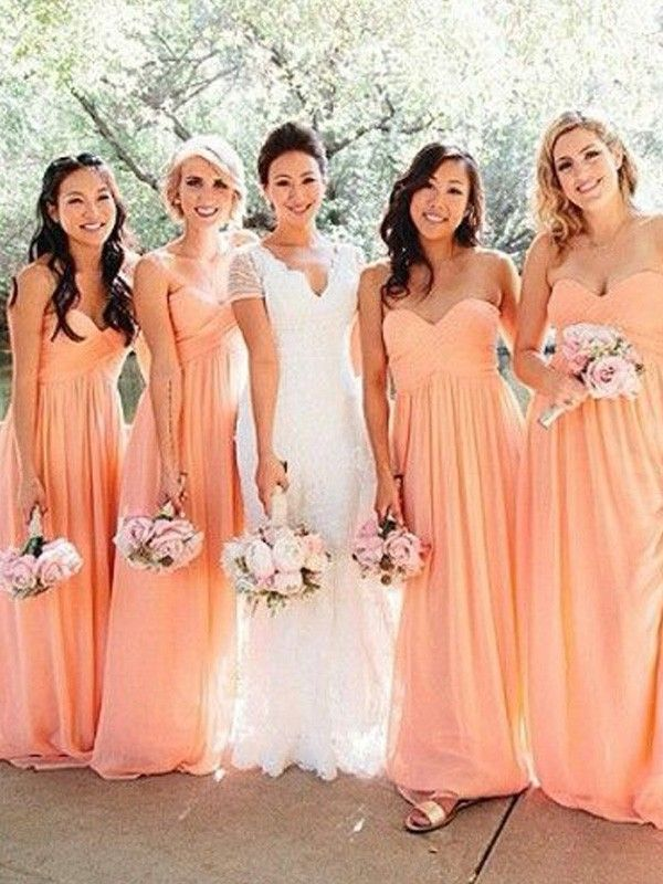 A-Line Princess Sweetheart Sleeveless Floor-Length Ruched Chiffon  Bridesmaid Dresses 000bc1812d2a