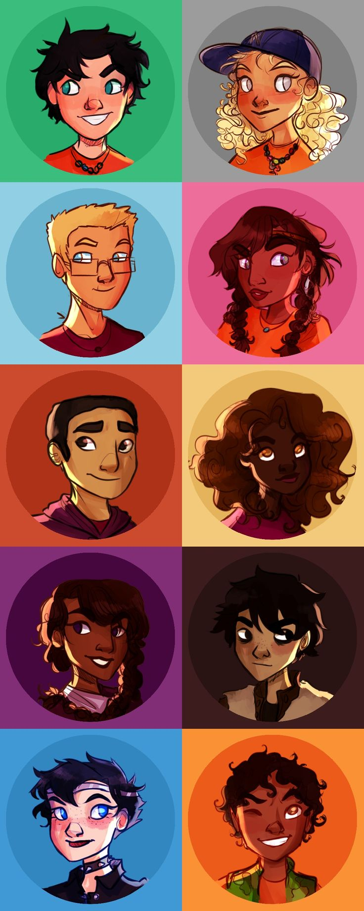 Percy Jackson, Annabeth Chase, Jason Grace, Piper McClean, Frank Zhang, Hazel Levesque, Reyna Ramírez-Arellano, Nico di Angelo, Thalia Grace & Leo Valdez | art by dellbelle39 (Artwork)