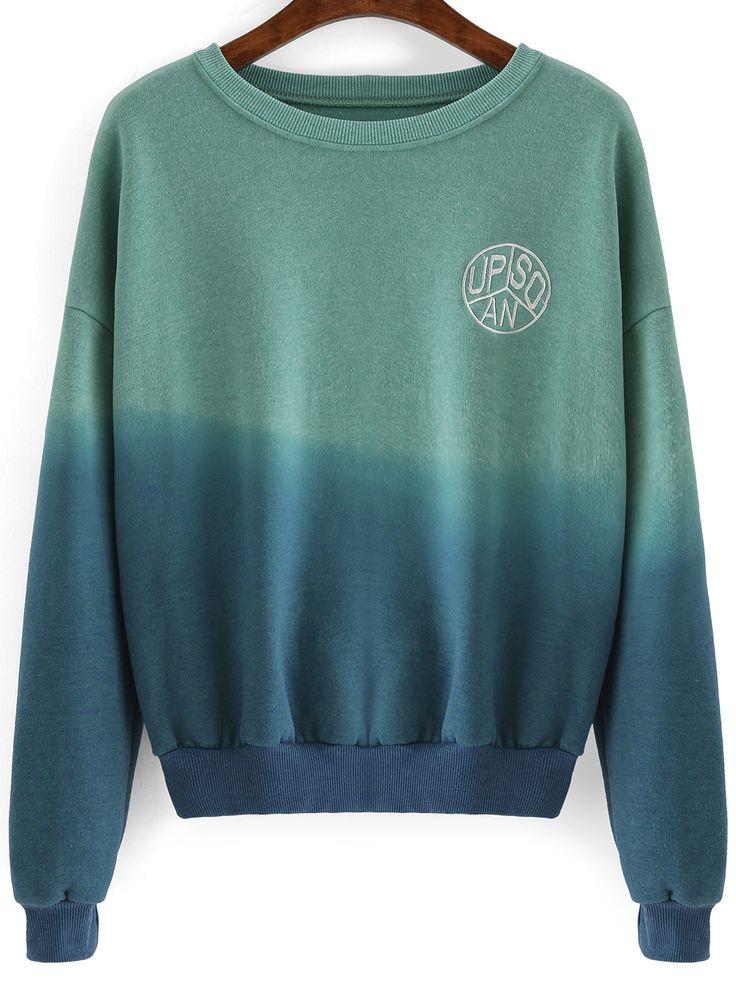 Sweat-shirt+dégradé+col+rond+-vert+bleu+15.59