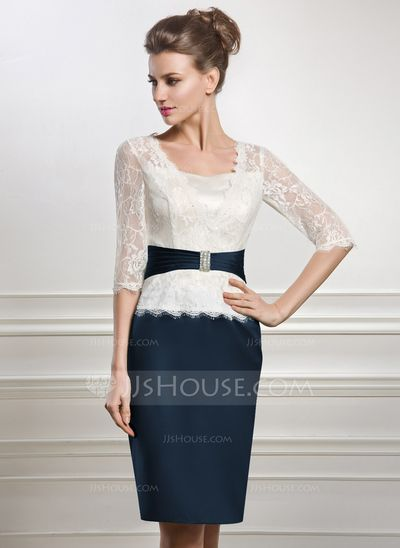 Knee-Length Satin Lace Mother of the Bride Dress With Beading (008056887)