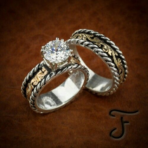 western wedding set - Country Wedding Rings