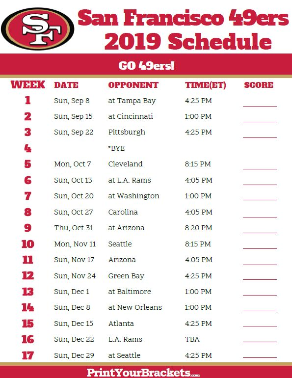 Printable San Francisco 49ers Schedule 2019 Season San