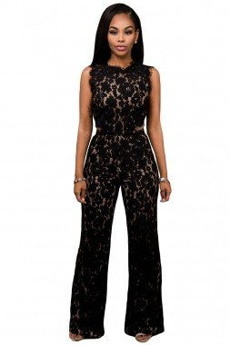 Black Lace Nude Illusion Back Cutout Jumpsuit