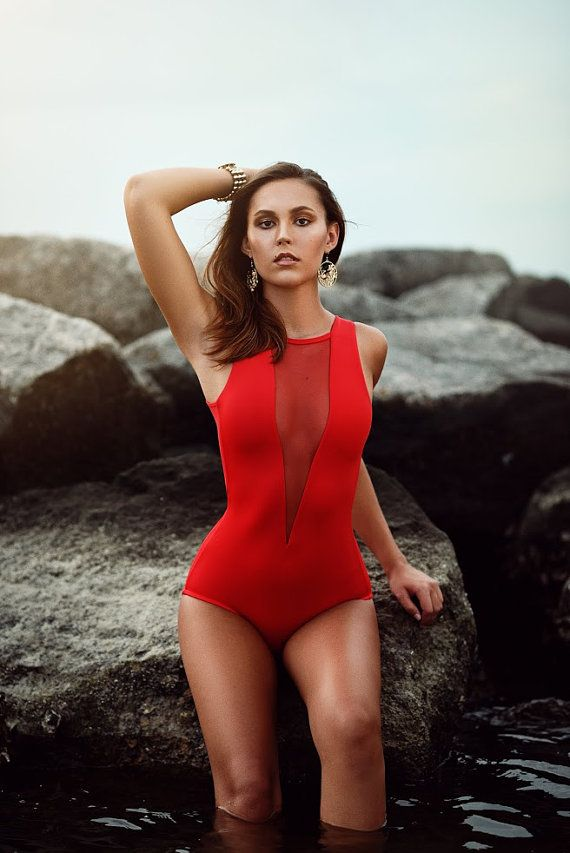 Deep V swimsuit Red by Kooj on Etsy