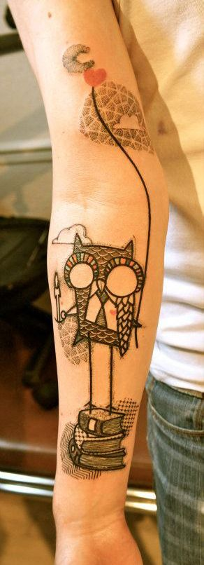 owl, moon, books- knowledge, wisdom, depth
