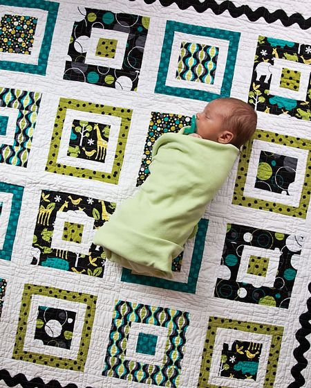 Free Pattern - Quilt for Baby Boy ('Boys Will Be Boys' Quilt) - Like the pattern but I love how this baby is all wrapped up and snuggly. What a beautiful photo!