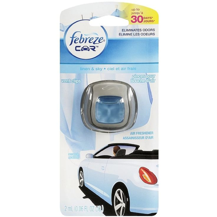 Febreze Car Vent Clip Air Freshener, Linen & Sky (Blue) 1 ea (Pack of 6)