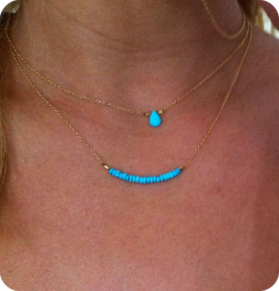 turquoise: Layering Necklaces, Small Necklaces, Dainty Necklaces, Summer Luvin, Blue Necklace, Layered Necklaces, Turquoise Necklace, Turquoise Stone, Gold Necklaces