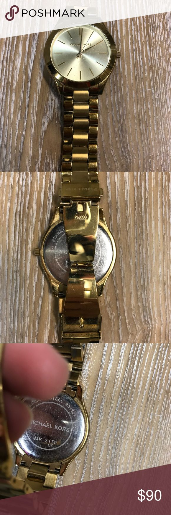 Michael Kors Gold Large Face watch Large Face Gold Michael Kors Womens watch. Minor scratching around the clasp. Classic and beautiful piece. Michael Kors Accessories Watches