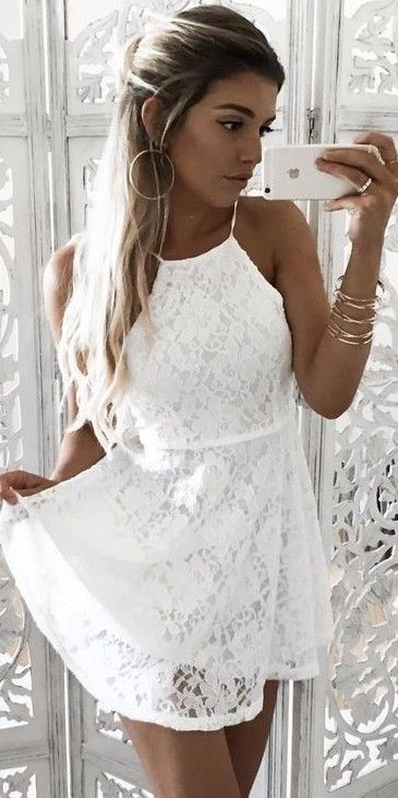 #White #Dress #Blanco #vestido #corto #cute #moda #2017 #chic