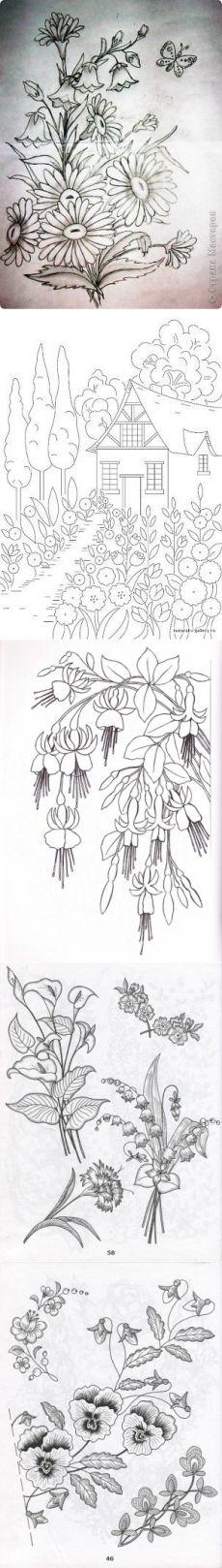 Схемы для вышивки лентами. / Вышивка / Вышивка лентами