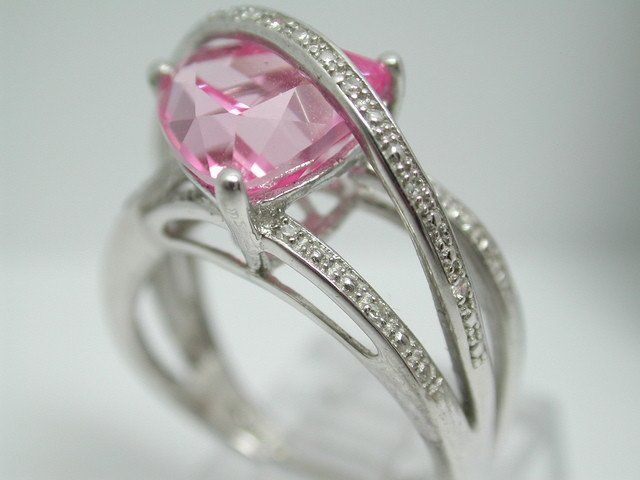 .925 Sterling Silver & 18k White Gold, Pink Sapphire & GENUINE Diamond Ring