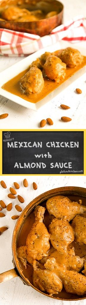 Mexican chicken with almond sauce (pollo en salsa de almendras) - A fantastic, quite unknown, recipe made with almond sauce. If you've never tried it, I highly recommend it! The recipe that I've written below is faithful to the original, I followed a small personal variant only finishing the dish to make the almond sauce even more creamy! - dinner recipes traditional Mexican