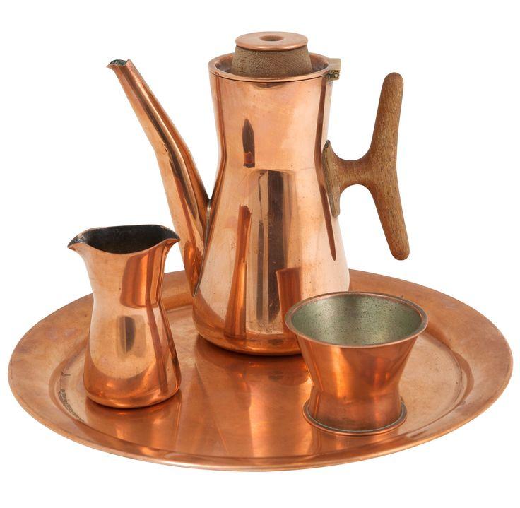 Tapio Wirkkala; Copper and Teak Coffe Set for Kultakeskus Oy, c1958.