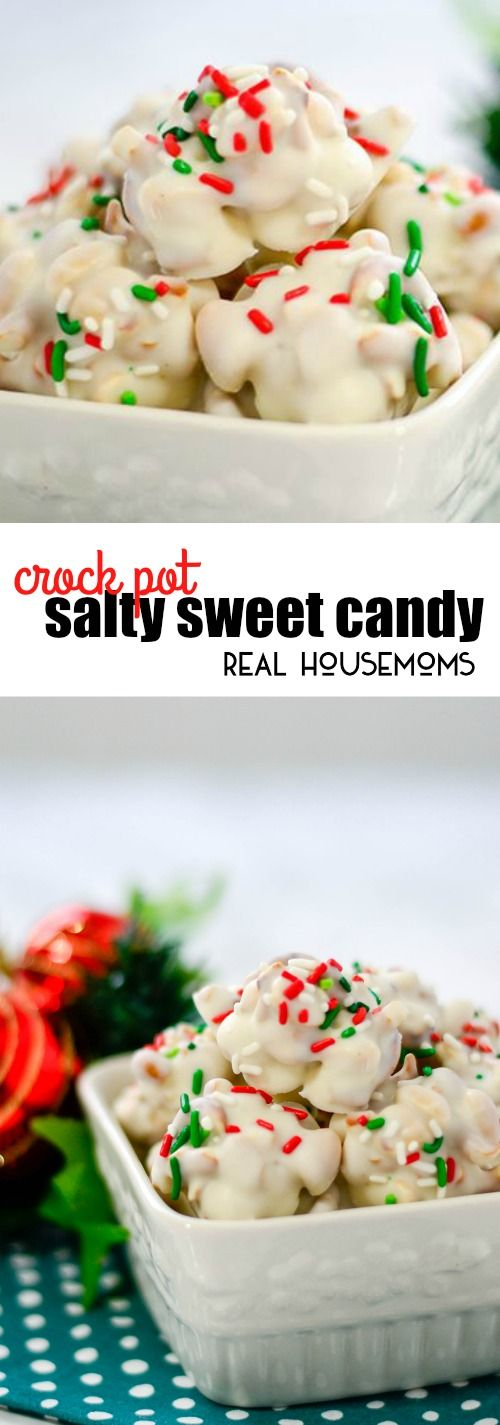 Crock Pot Salty Sweet Candy is an easy to make dessert my whole family loves! This recipe makes a big batch for everyone on your nice list! via @realhousemoms