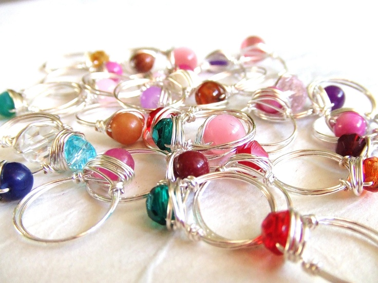 Kids Rings Little Girls Rings Wire Wrap Rings Toddler Rings Girls Jewelry Crystal Rings Gifts Under 5 Gifts Under 10 Children's Party Favors. $4.00, via Etsy.