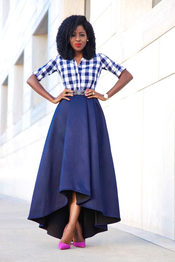 What's wrong with being confident?!?! Love it! Gingham Shirt High Low Full Skirt