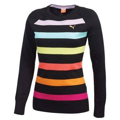 Puma Crew Stripe Women\u0027s Golf Sweater is complete with a bold rainbow of  colorful horizontal stripes