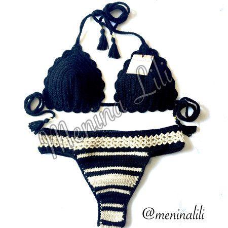 Conjunto de Biquíni de Crochê Listras