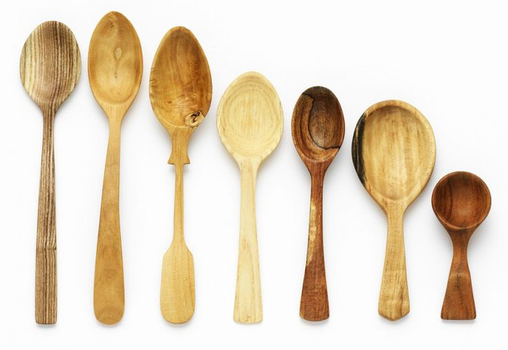 """spoons. . . """"When I begin carving I look for the differing qualities in each piece, allowing the grain and character to influence the design. Each spoon evolves to have its own personality and when finished becomes a showcase for the limitless beauty of wood."""""""
