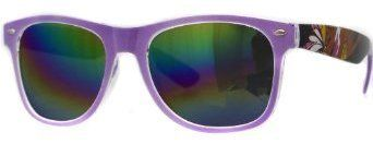 Oramics® Wayfarer Retro Sonnenbrille Nerd Brille Lila mit stylischem Muster