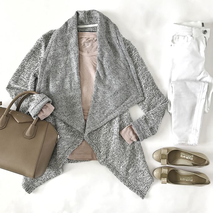 drapey cardigan casual weekend outfit bow pumps white jeans