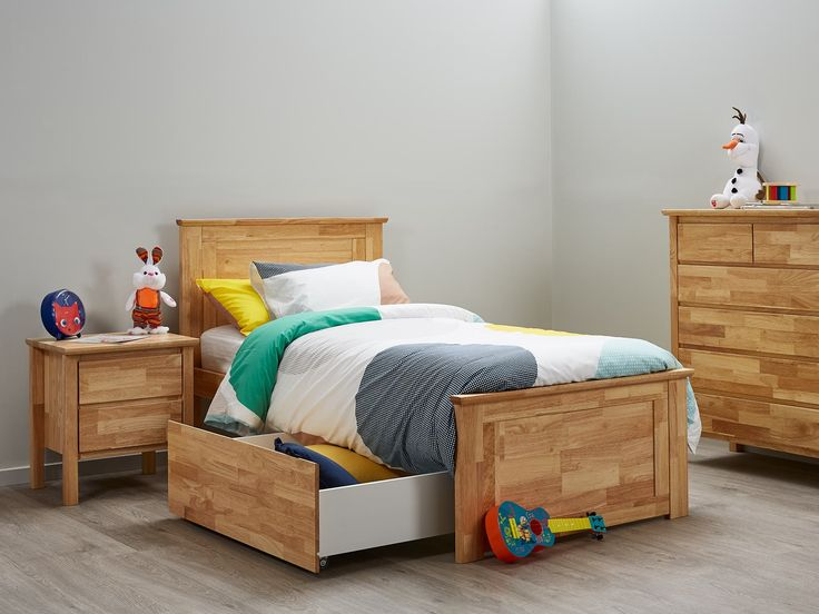 single bed with storage modern natural timber