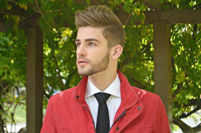 ootd, fashion, look do dia, moda masculina, jaqueta, gravata, cabelo masculino, jaqueta vermelha