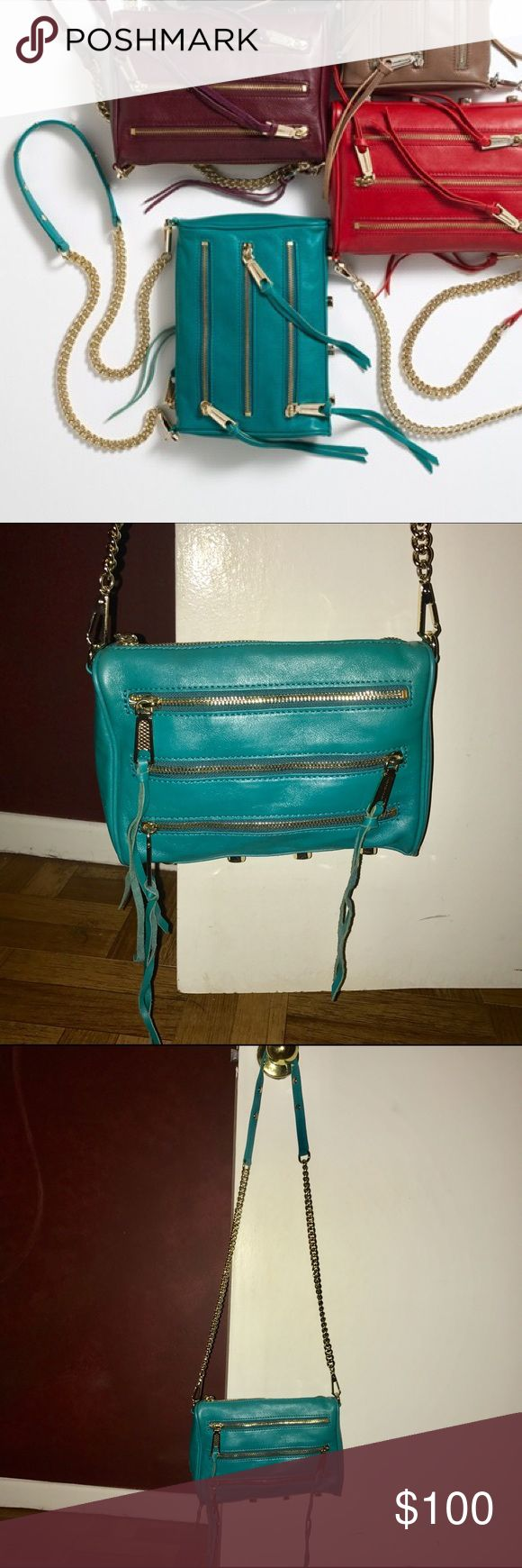 Teal Rebecca Minkoff crossbody 5 zip Rebecca Minkoff teal crossbody 5 zip. Gorgeous color! Gold hardware. Only used twice. Has all original packaging and dust bag that matches the interior. Rebecca Minkoff Bags Crossbody Bags