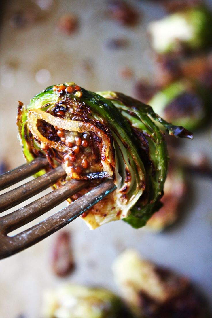 Roasted Brussels Sprouts With Mustard Sauce And Charred