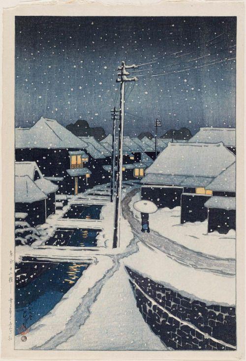 Kawase Hasui, Evening Snow at Terashima Village, 1920 (source).