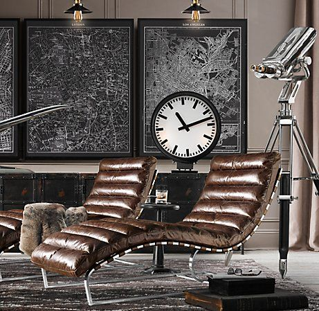 Living Room - Distressed leather lounges, railway clock, framed maps with wall lights, chrome telescope....oozing industrial restoration
