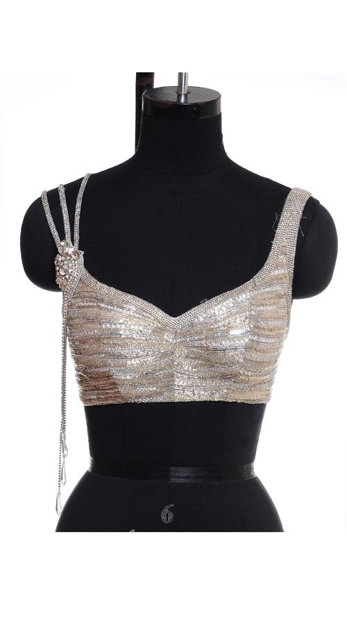 Chikan Worked Beige Saree Blouse Front| Strandofsilk.com - Indian Designers