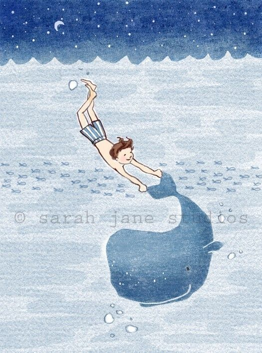 Children's Wall Art Print - Whale Dreams (Boy) - 8x10 - Boy Kids Nursery Room Decor. $26.00, via Etsy.