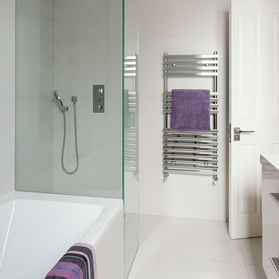 White bathroom with purple accessories   Bathroom decorating   Ideal Home   Housetohome.co.uk