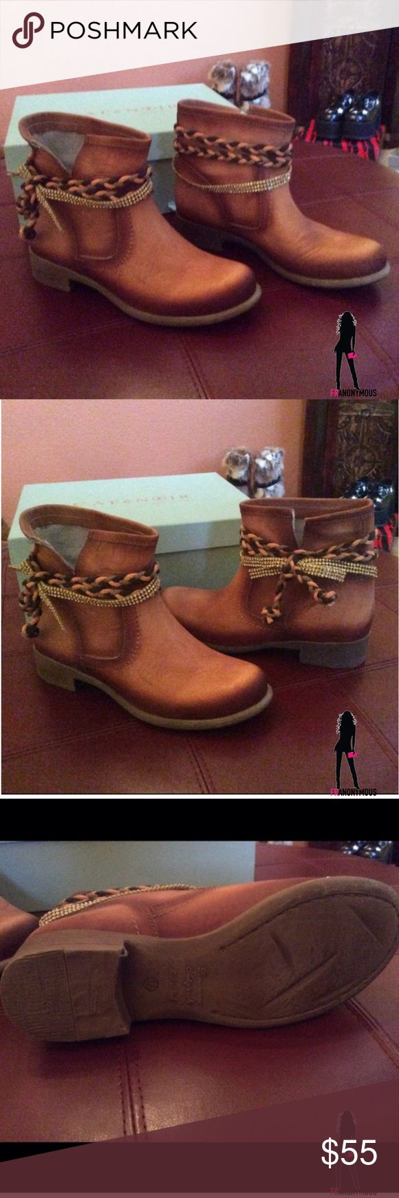 Italian Leather Ankle Boots 7.5 (38) Brown leather ankle boots. Made in Italy. These have a rope and rhinestone trim and are do fabulous. I never wore them and am fighting with myself to keep. They are the perfect bootie! Size 38 Eur fits 7.5 Shoes Ankle Boots & Booties