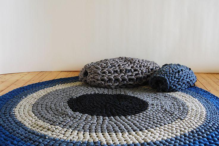 Knitted Army by artist Andrea Brena (hand-crocheted rug, looks like tshirt yarn?)