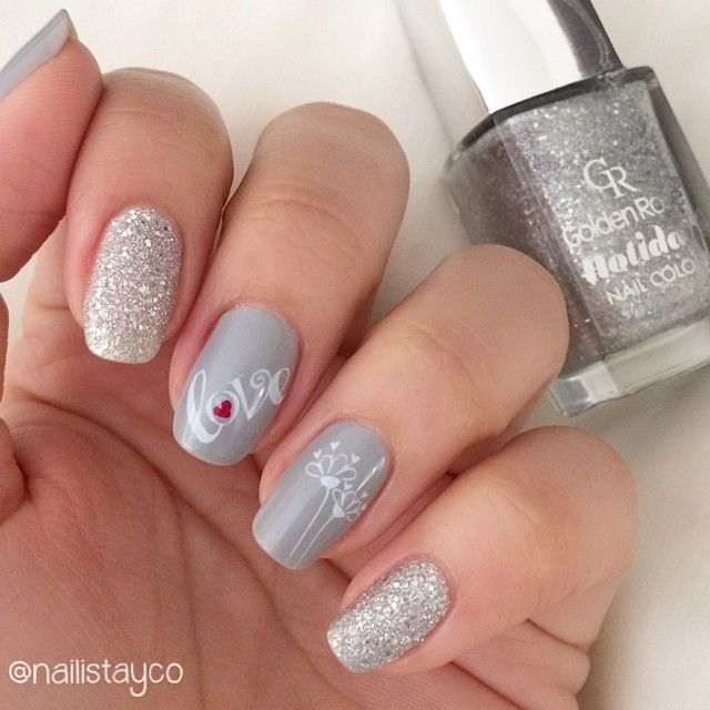 """""""Hello girls! I did this manicure for #bundlemonster's 5th anniversary nail art challenge The topic today is #love so I chose a simple design with the…"""""""