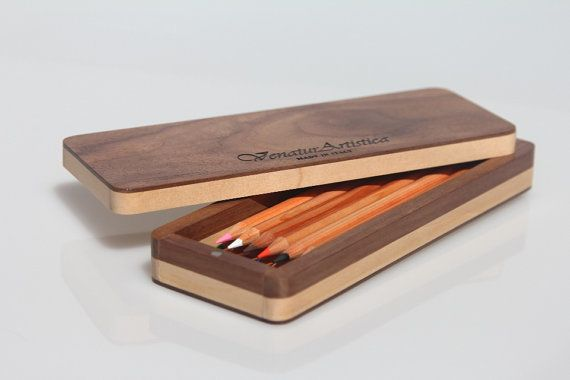 Wooden case  Case  Pencil holder  Pen holder  di VenaturArtistica