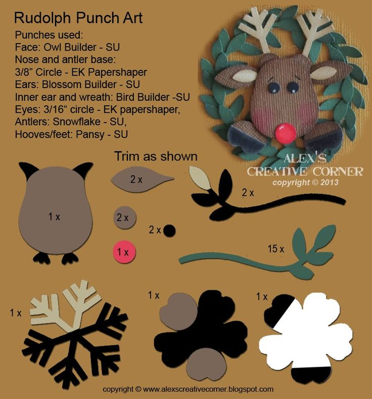 Alex's Creative Corner: Rudolph Punch Art Card