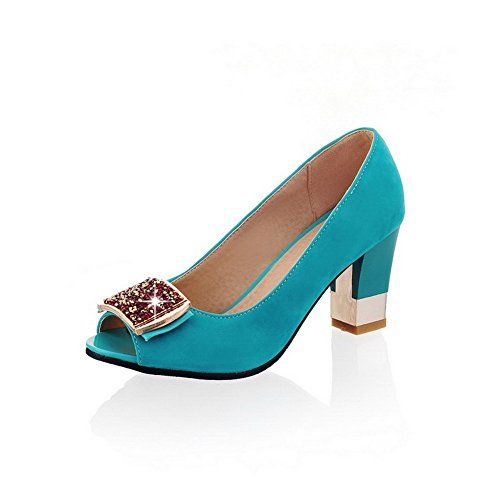 VogueZone009 Womens Imitated Suede Solid Pullon Peep Toe HighHeels HeeledSandals Cyan 36 *** See this great product.